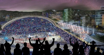 Here's one illustration of how the City of Oslo imagines the opening ceremonies for a Winter Olympics in Oslo in 2022. It's financing remains controversial, with millions already being spent without much political debate. PHOTO: Oslo2022