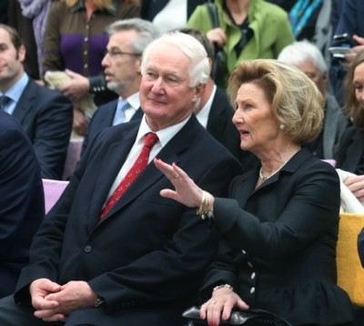 Hans Rasmus Astrup, shown here with Queen Sonja at the opening of the Astrup Fearnley Museum last year, is a personal friend of the royal family and shares an enthusiasm for art with the queen. PHOTO: Terje Bendiksby / NTB Scanpix
