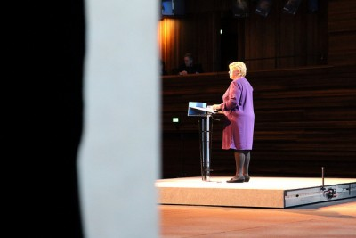 Prime Minister Erna Solberg opened the NHO conference in Oslo on Wednesday. She told the country's most powerful business lobby that oil has made Norway rich, but education, knowledge and a highly skilled society are key to the future. PHOTO: Statsministerens kontor