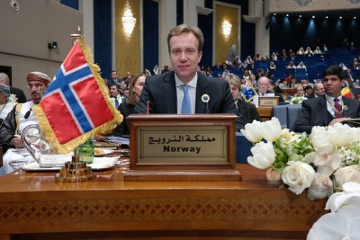 Norwegian Foreign Minister Børge Brende, shown here at the international donor conference in Kuwait on Wednesday, offered NOK 460 million in additional aid for those displaced by the civil war in Syria. PHOTO: Utenriksdepartementet/Frode Overland Andersen