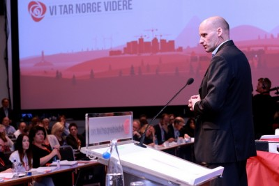 Lawyer Geir Lippestad has been a long-term Labour Party (Arbeiderpartiet, Ap) member, pictured here addressing the national party conference last year. Lippestad became prominent when he defended confessed terrorist Anders Behring Breivik, and has since become chair of new left-leaning think tank, Agenda. Party sources have tipped Lippestad as a candidate for Oslo mayor in council elections next year. PHOTO: Arbeiderpartiet