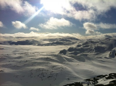 The view from the peak of Totten (1,497m) at Hemsedal ski centre. The summit is easily accessed by lifts, and offers skiing of all abilities. Such reliable conditions are luring snow tourists to Norway, instead of traditional ski destinations in the European alps. PHOTO: newsinenglish.no