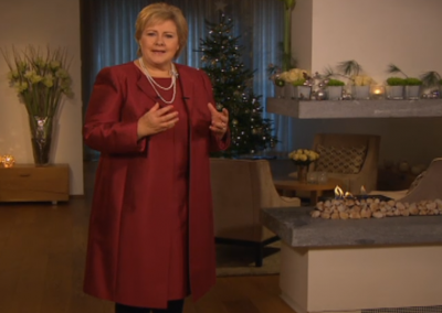 Norwegian Conservative (Høyre) Prime Minister Erna Solberg delivers her first annual new year's day address. Her themes included mental health, workplace opportunities, education, and the 200 year anniversary of Norway's constitution. PHOTO: newsinenglish.no/NRK screen grab