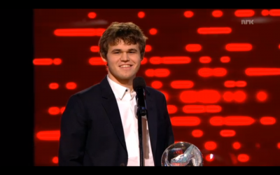 Chess world champion, 23-year-old Magnus Carlsen accepts his third award at Norway's annual Sports Gala. Controversially Carlsen wasn't eligible for the Athlete of the Year award, but won every category he was nominated in. PHOTO: newsinenglish.no/NRK screen grab