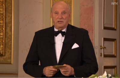 King Harald of Norway address the nation in his annual new year's eve speech. He spoke of the love that guides people, and the constitution that serves as the compass for the nation. The Norwegian constitution celebrates its 200th anniversary in 2014. PHOTO: newsinenglish.no/NRK screen grab