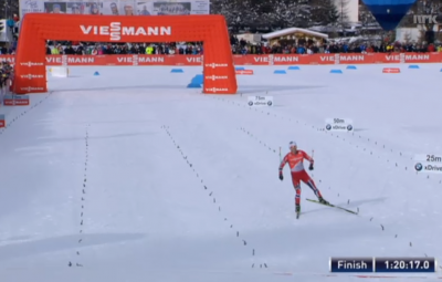 Not a competitor in sight as Martin Johnsrud Sundby steams home to finish stage five of the Tour de Ski, the men's 35km pursuit. PHOTO: newsinenglish.no/NRK screen grab