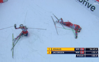 Therese Johaug, left, celebrates winning the final leg and the Tour de Ski overall. An exhausted Astrid Uhrenholdt Jacobsen had just crossed the finish line to take out second place. PHOTO: newsinenglish.no/NRK screen grab