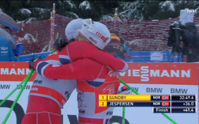Chris Jespersen, left, and Martin Johnsrud Sundby embrace after finishing second and first respectively at the Tour de Ski. PHOTO: newsinenglish.no/NRK screen grab