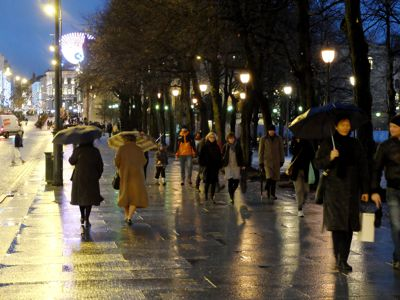 karl johans gate, rain