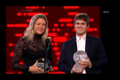 Golf star Suzann Pettersen and chess prodigy Magnus Carlsen share the athletes' choice award. PHOTO: newsinenglish.no/NRK screen grab