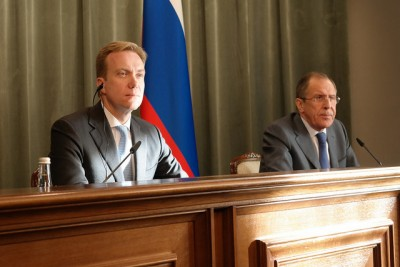 Norwegian Foreign Minister Børge Brende (left) met with Russian Foreign Minister Sergei Lavrov in Moscow last month. Bans on Norwegian salmon exports to Russia were on their agenda.  PHOTO: Utenriksdepartementet/Kristin Enstad