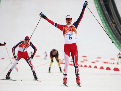 Jørgen Graabak, a 22-year-old biathlon skier from Byåsen who'd never won an international competition, celebrates after winning an Olympic gold medal in the Nordic Combined event in Sochi on Tuesday. His fast skiing on the 10-kilometer course secured his victory, with teammate Magnus Moan winning silver. PHOTO: Sochi 2014