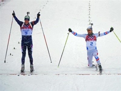 Emil Hegle Svendsen (left) celebrated a bit early but was confirmed as winner of the men's mass start biathlon on Tuesday in a photo finish. His gold medal finally ended a winning drought for Norwegian skiers at the Olympics in Sochi. PHOTO: Sochi 2014