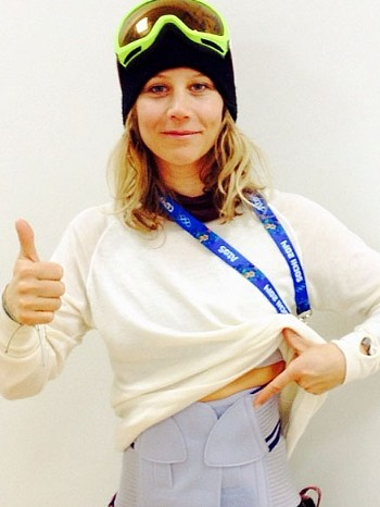 Battered but not beaten, Kjersti Buaas posted this photo of herself on Instagram after joining other athletes who got injured before the Olympics even began. She still hoped to compete with her snowboard on Sunday. PHOTO: Instagram
