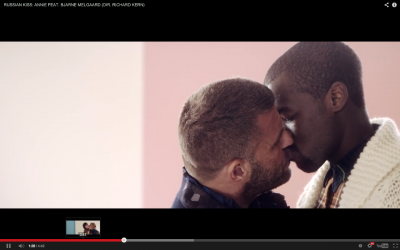 Artist Bjarne Melgaard (left) in a cameo for Annie's Russian Kiss video, released on the opening day of the Sochi Olympics. PHOTO: anniemelody.com
