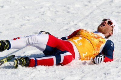 When you're flat on your back, things can only be looking up, but Norwegian skier Martin Johnsrud Sundby didn't see much to be optimistic about after the men's relay team ended fourth in the Olympic event they were favoured to win. PHOTO: Heiko Junge / NTB Scanpix