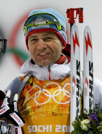 Norwegian biathlon champion Ole Einar Bjørndalen became the greatest winter Olympian ever when he won his latest gold medal in the mixed relay in Sochi on Wednesday. He turned 40 last month. PHOTO:  AP /Lee Jin-man/NTB Scanpix