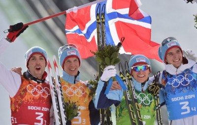 Norway's team of ski jumpers and racers was ecstatic after winning the country's 10th gold medal at the Winter Olympics in Sochi on Thursday. PHOTO: EPA/HENDRIK SCHMIDT/NTB Scanpix