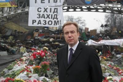 Utenriksminister Børge Brende på Maidan-plassen i Kiev 6. mars 2014. Foto: A. Versto, UD
