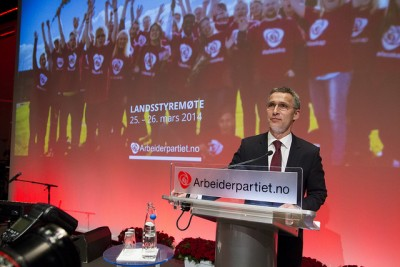 Jens Stoltenberg at what was to be his last major national party meeting as Labour Party leader, before accepting the job as secretary general of NATO. PHOTO: Arbeiderpartiet