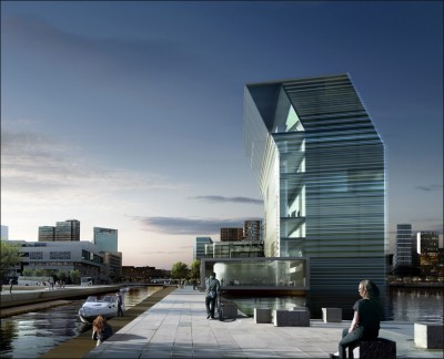 The costs of the new Munch Museum planned for Oslo's eastern waterfront have jumped again, with the budget now set at NOK 2.1 billion. At far left, the eastern wing of the Opera House. ILLUSTRATION: MIR/Herreros Arquitectos