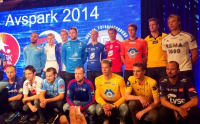 The captains of Norway's premier league teams line up at the 2014 kick off event earlier this week. The Football Federation (NFF) is hopeful they'll lure fans back to the sport this year, after match attendance, broadcast viewers and revenues plummeted from the league's heyday in the late 2000s. PHOTO: facebook.com/fotballandslaget