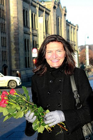 Libe Rieber-Mohn, shown here campaigning in Oslo on behalf of women, has put what many call a brave face on the plight of young victims of sexual abuse after revealing that she was abused herself. PHOTO: Arbeiderpartiet