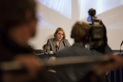 Under observation: the head of Norway's Benedicte Bjørnland, said the Service wants greater powers  to monitor terror suspects' computer keyboards, enabling them to read correspondence that is never actually sent. Some legal experts warn it would be difficult to track exactly who was using a computer, and the move would pose a threat to freedom of expression. PHOTO: Politiets sikkerhetstjeneste