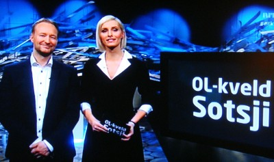 Kjetil André Aamodt with co-host Anne Rimmen on NRK's nightly show during the Olympics. They pulled in higher ratings than Norway's official Olympic broadcaster TV2. PHOTO: NRK screen grab / newsinenglish.no