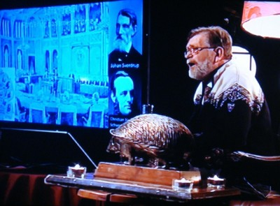Professor Frank Aarebrot at the University of Bergen scored high ratings with his unusual lecture covering 200 years of Norwegian history in 200 minutes before a live television audience on NRK2 last week. PHOTO: NRK screen grab/newsinenglish.no