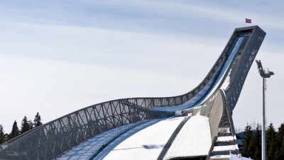 Oslo's Holmenkollen Ski Jump is the centerpiece of the annual Holmenkollen Ski Festival, but a near chronic lack of natural snow is raising concerns every year. PHOTO: Oslo kommune