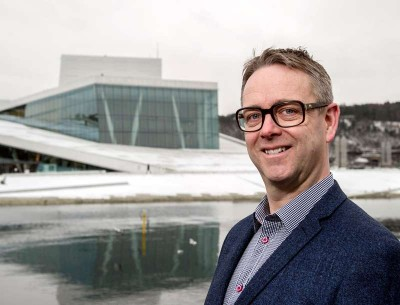 Nils Are Karstad Lysø, shown here outside the Opera House in Oslo, will mix his love of music with his business acumen in his new job as chief of the Norwegian Opera and Ballet. PHOTO: Den Norske Opera og Ballett/Erik Berg