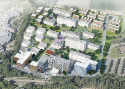 Student housing density will increase at Kringsjå, at the end of the Sognsvann metro line in Oslo. Here's one of the proposals for additional housing from MDH Architects. PHOTO: MDH