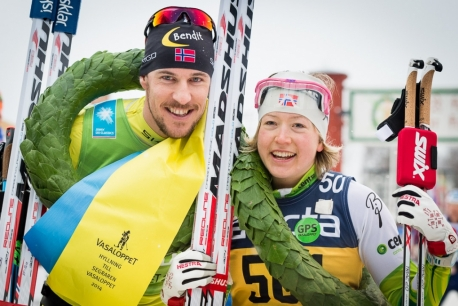 Norwegians John Kristian Dahl and Laila Kveli won this year's lengthy Vasaloppet ski race in Sweden, with Kveli winning the women's division for the second year in a row. PHOTO: Swix Ski Classics