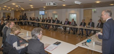 Government minister Jan Tore Sanner at the hearing he conducted earlier this month, where a majority favoured preservation of the government complex' high-rise. PHOTO: Kommunal- og moderniseringsdepartementet