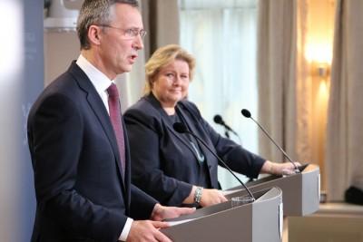 Erna congratulating Jens on his new job at NATO