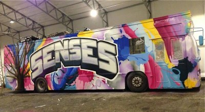 """The 25 girls behind the Russ bus 'Senses' spent more than NOK 1 million customizing their ride, including white leather seats, a graffiti-style facade and a huge sound system. But they said their biggest expense was original theme music, spending about NOK 150,000 on three songs. Original songs are a growing trend among Russ students, but some in the music industry said they're paying an """"absurd"""" amount. PHOTO: facebook.com/senses2014"""
