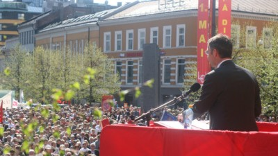 Labour Day on the 1st of May is a festive occasion in Norway, featuring speeches, parades and political appeals. This year marks the first Labour Day in eight years without the Labour Party holding government power. PHOTO: Arbeiderpartiet