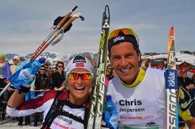 And the winners of Skarverennet were: Therese Johaug and Chris Jespersen. PHOTO: skarverennet.no