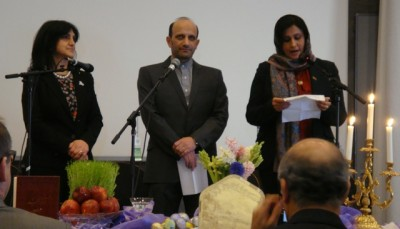 Three ambassadors welcomed guests to the Nowruz Festival they hosted in Oslo on Monday. From left: Iraqi Ambassador Sundus Omar Albayraqdar, Iranian Ambassador Majid Nili Ahmadabadi and Afghan Ambassador Manizha Bakhtari. PHOTO: newsinenglish.no