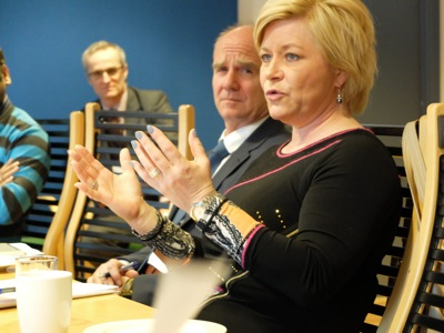 Finance Minister and leader of the Progress Party Siv Jensen met with the foreign press in Oslo on Monday to further explain the government's management changes to Norway's vast sovereign wealth fund, and respond to some of the criticisms leveled against the changes. PHOTO: Emily Woodgate/newsinenglish.no