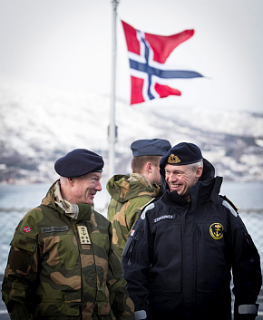 The Norwegian Chief of Defence, admiral Haakon Bruun-Hanssen (left) with commodore Nils Andreas Stensønes at the Cold Response exercise held in March. They are on board the KNM Thor Heyerdahl, one of the vessels Norway has sent to the NATO frigate fleet following the conflict in Ukraine. Bruun-Hanssen said there are serious deficiencies in the Norwegian military, and more resources are needed to recruit more soldiers and upgrade old equipment. PHOTO: Morten Opedal/Sjøforsvaret/Forsvarets mediesenter