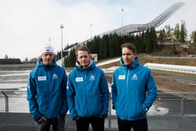 Shameful biathlon skiers (from left) Johannes Thingnes Bø, his older brother Tarjei Bø and Emil Hegle Svendsen faced the media at Holmenkollen in Oslo on Friday to apologize for their bad behaviour at a World Cup competition in Slovenia last month. PHOTO: Ole Berg-Rusten / NTB Scanpix