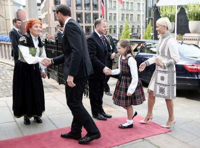 The next generations of royals also got red-carpet treatment upon arrival at the Parliament for the special session to celebrate the 200th anniversary of Norway's constitution. From left, Crown Prince Haakon, Princess Ingrid Alexandra and Crown Princess Mette-Marit. PHOTO: Erlend Aas/NTB Scanpix/Stortinget