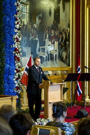"Olemic Thommessen, president of the Norwegian Parliament, noted from the specially decorated podium that ""today we begin the next 200 years of the Norwegian democracy."" PHOTO: Stortinget"