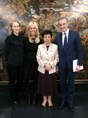 From left, leader of the Norwegian Medical Association Hege Gjessing, Eat founder Gunhild Stordalen, WHO Director-General Margaret Chan and incoming Labour Party leader Jonas Gahr Støre, in Geneva last month to discuss the Eat forum. PHOTO: twitter.com/G_stordalen