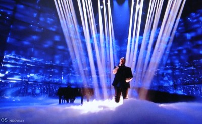 """Carl Espen's performance at Eurovision also featured special effects with lights, """"smoke"""" on the stage and back-up musicians but it was tame compared to several of the other Eurovision entries. PHOTO: NRK screen grab/newsinenglish.no"""