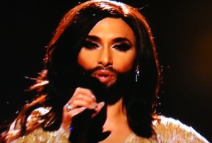 An Austrian drag queen who goes by the name of Conchita Wurst stole the Eurovision show. PHOTO: NRK screen grab/newsinenglish.no
