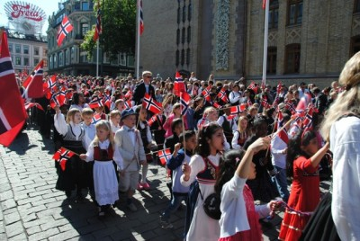 Children are the stars of Norway's 17th of May parades, like here in Oslo on Saturday. PHOTO: newsinenglish.no