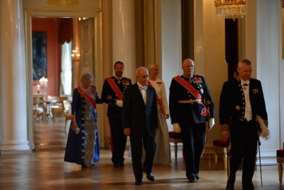 Princess Astrid, Crown Prince Haakon, Mette-Marit, Shimon Peres, King Harald